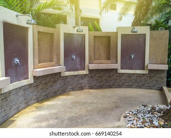 Brick shower zone for take a shower before swim