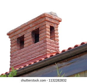 brick smokestack isolated on white background