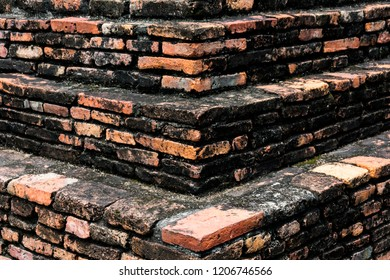 the brick stone formation at thai temple