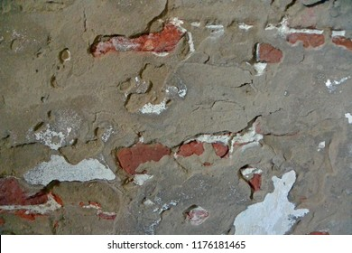 Brick and stucco textured wall inside Old Baldy lighthouse, Bald Head Island, North Carolina