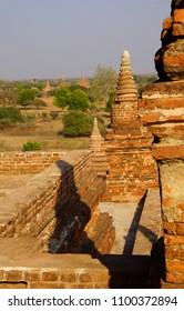 Brick stupas and temple decoration in Bagan Myanmar (Burma)