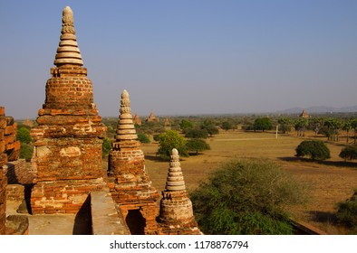 Brick stupas and temple decoration in Bagan Myanmar (Burma)