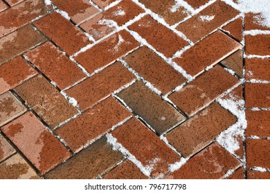 Brick surface with snow