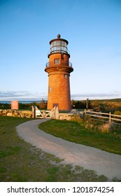 The brick tower of Aquinnah lighthouse, also referred to as Gay Head light, sits on a hilltop on the island of Martha's Vineyard in Massachusetts.