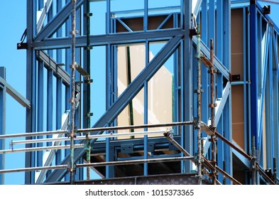 Brick veneer multi story construction - steel frame, gyprock and scaffolding