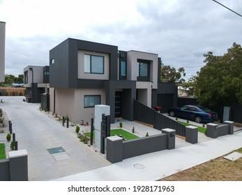 Brick Veneer town houses in Melbourne Victoria Australian Suburbia