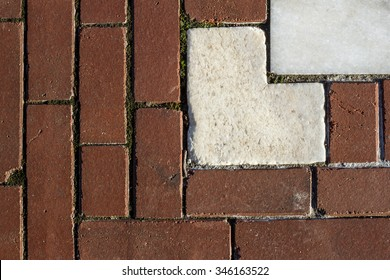 Brick walkway in front of the Rhode Island State House, in Providence, RI.