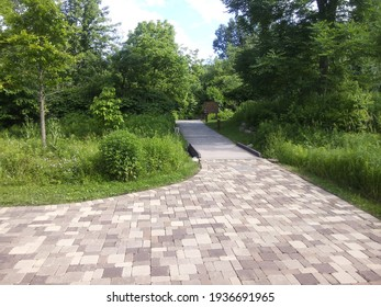 A brick walkway through the woods.