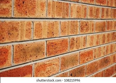 Brick wall with an angled view