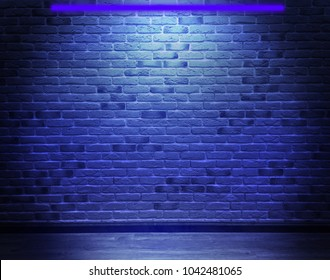 Brick wall, background, blue neon light