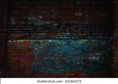 brick wall background, close up. Brickwork, dark tonality