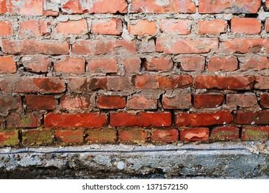 Brick wall background with concrete slub beneath