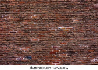 Brick wall background , old red stone texture background