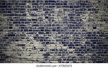 Brick wall blue grunge texture retro