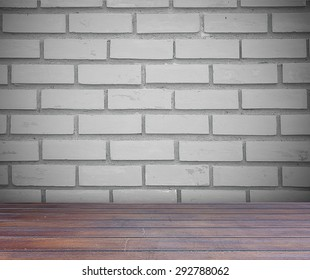 Brick wall and brown wood floor with clipping path, easy to adjust on each element.