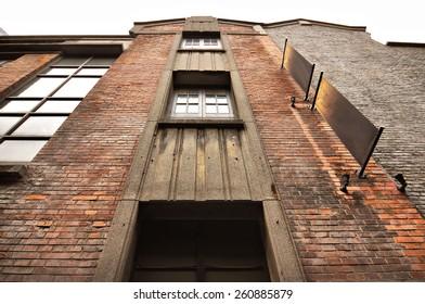 Brick wall building facade in Xintiandi, Shanghai, China