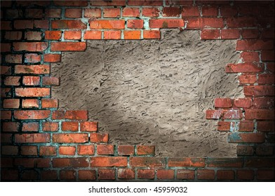 Brick wall with a cement