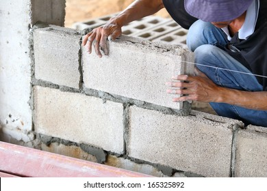 Brick wall construction for house building