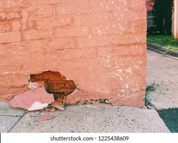 Brick wall damage