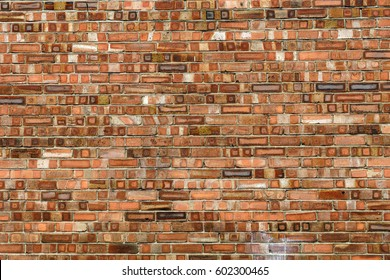 Brick wall in different red shades