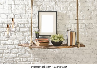brick wall drift wood shelves and frame concept decor, modern lamp