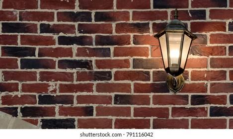 Brick wall and evening light. Red brick. Beautiful masonry