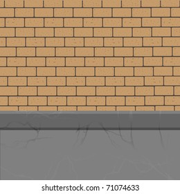 brick wall to the foundation.