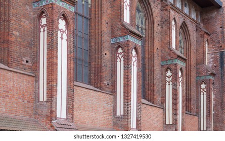 Brick wall  of Gothic cathedral in Kaliningrad, Russia. Built in the 14th century