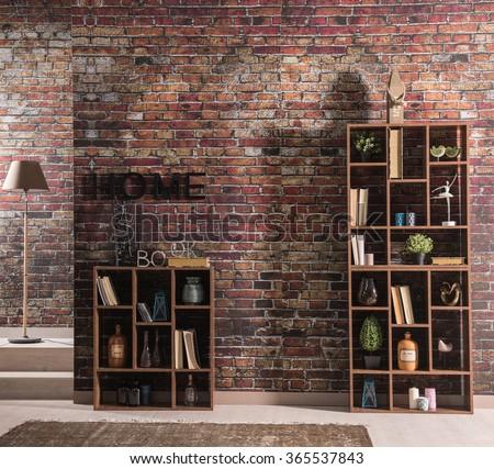 Brick Wall Home Bookshelf With Lamp And Rug