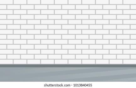 Brick wall. Interior design template with brick pattern.