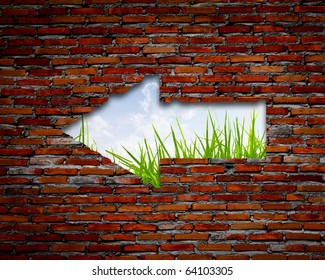 Brick wall with left arrow , grass and sky
