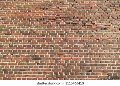 Brick wall made of red bricks
