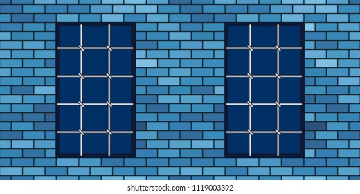 Brick wall and metal grating windows