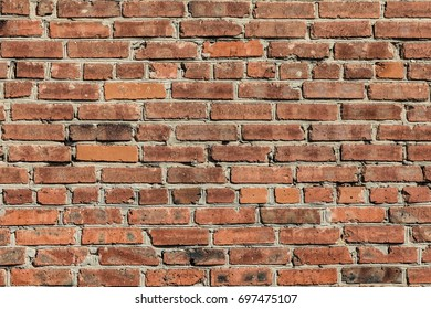 brick wall, old red brick wall for background