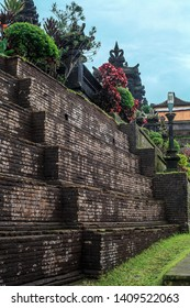 Brick wall to Pura Agung Besakih temple. Summer landscape with religious building pura basuki puseh jagat on Bali, Indonesia