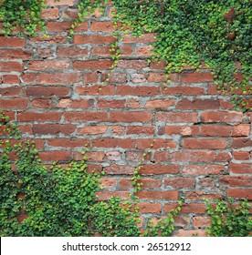 Brick wall and rattan