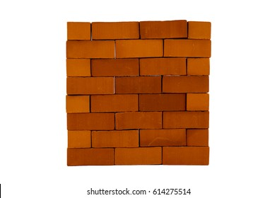 Brick wall. Rectangular brickwork isolated on white background.