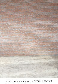 Brick wall texture background and concrete floor