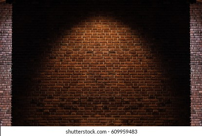 Brick wall texture backgrounds, with light spot on center