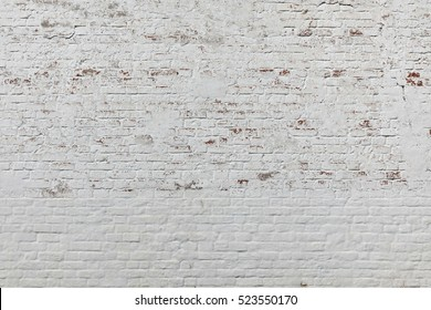 Brick Wall Texture. Old White Shabby Brick Wall Horizontal Background. Red White Brickwall Backdrop. White Red Stonewall Surface. Vintage Plastered Wall. Retro Red Brick Wall With White Uneven Stucco