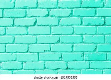 Brick wall texture. Vivid neo mint green color background with copy space for design. Tones of biscay green color.