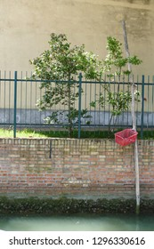 Brick wall of a water channel with metal balustrade, trees, limpets, mint green water, and a wooden pole with a red, plastik basket, Burano, Italy, 2017