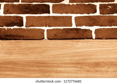 brick wall and wood plank background
