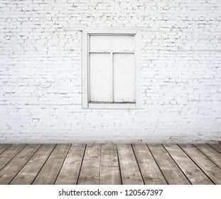 brick wall with wood window with wood floor