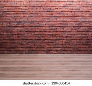 Brick wall and wooden floor, empty room