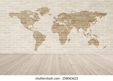 Brick wall world map wooden floor stock illustration 258063620 brick wall with world map and wooden floor background gumiabroncs Gallery