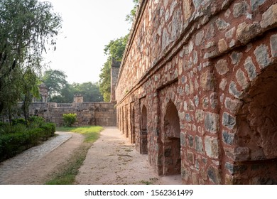 Brick walls of the Tomb of Sikandar Lodi, the ruler of the Lodi Dynasty in Lodhi Gardens in New Delhi, India