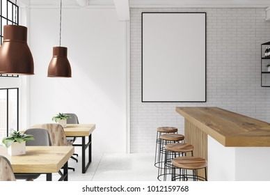 Brick and white loft bar interior with a concrete floor, a bar with stools and wooden tables with chairs. A poster. 3d rendering mock up