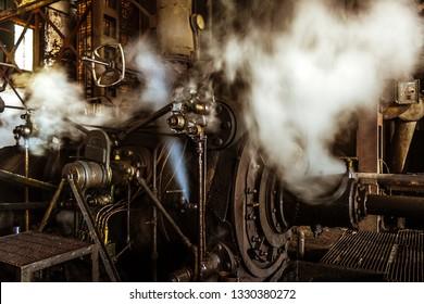 Brickaville, Madagascar, November 8, 2014: Engine of the sugar mill machinery of Brickaville, east of Madagascar