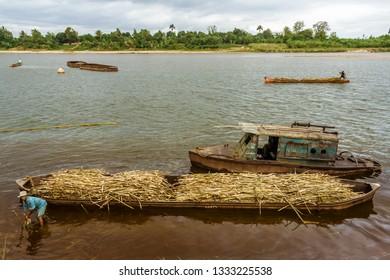 Brickaville, Madagascar, November 8, 2014: Malagasy deliver sugar cane to the sugar factory